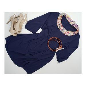 Jessica Simpson 18W NWT Navy Floral Collar Dress